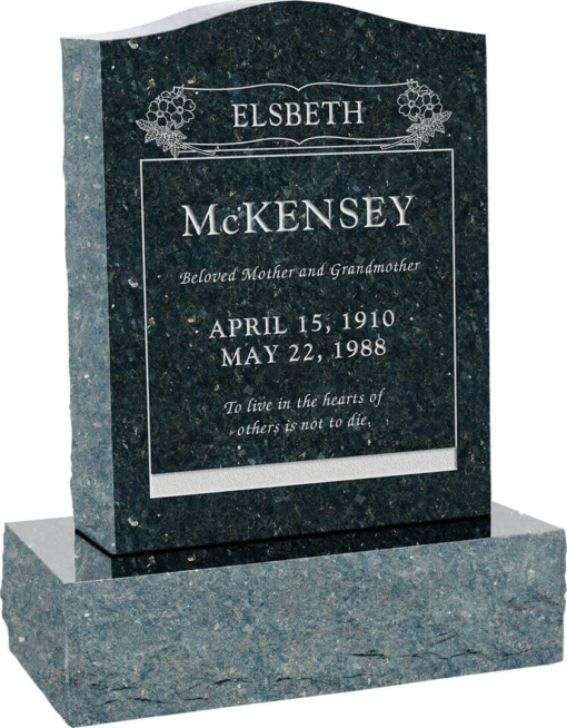 18inch x 6inch x 24inch Serp Top Upright Headstone polished top, front and back with 24inch Base in Emerald Pearl with design B-19