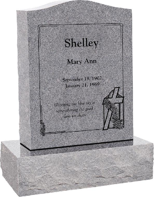 18inch x 6inch x 24inch Serp Top Upright Headstone polished top, front and back with 24inch Base in Grey with design SD-114