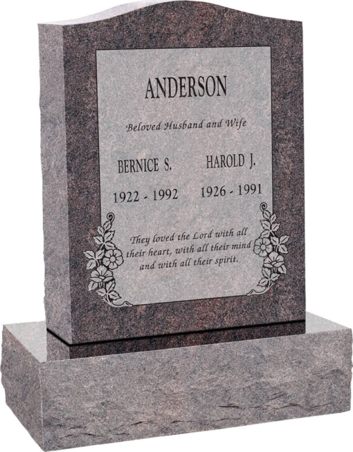 18inch x 6inch x 24inch Serp Top Upright Headstone polished top, front and back with 24inch Base in Himalayan with design C-101 Sanded Panel