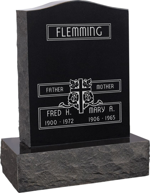 18inch x 6inch x 24inch Serp Top Upright Headstone polished top, front and back with 24inch Base in Imperial Black with design F-111