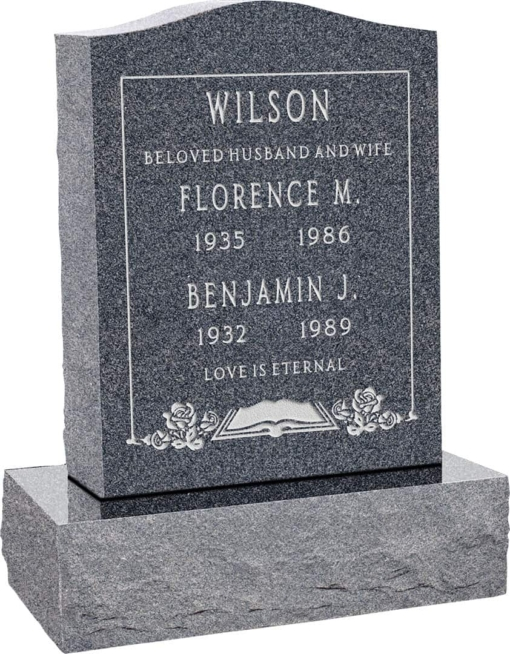 18inch x 6inch x 24inch Serp Top Upright Headstone polished top, front and back with 24inch Base in Imperial Grey with design F-119