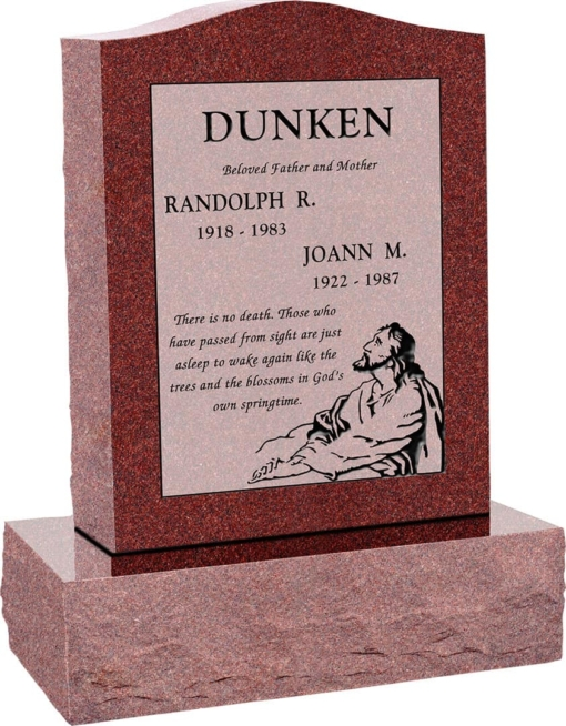 18inch x 6inch x 24inch Serp Top Upright Headstone polished top, front and back with 24inch Base in Imperial Red with design F-410 Sanded Panel