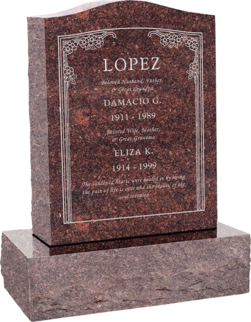 18inch x 6inch x 24inch Serp Top Upright Headstone polished top, front and back with 24inch Base in Mahogany with design HL-102