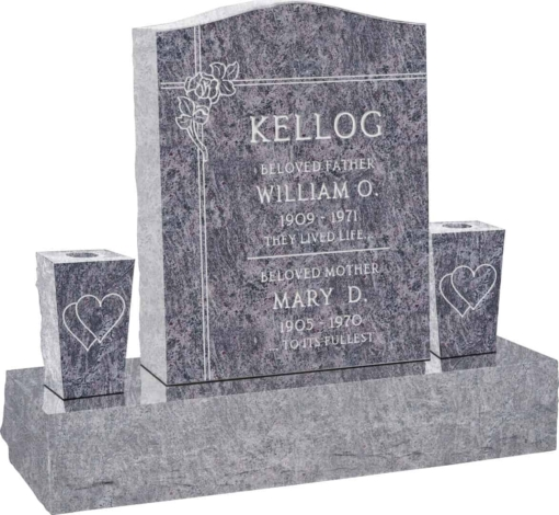 18 inch x 6 inch x 24 inch Serp Top Upright Headstone polished top front and back with 34 inch Base and two square tapered Vases in Bahama Blue with design F-106