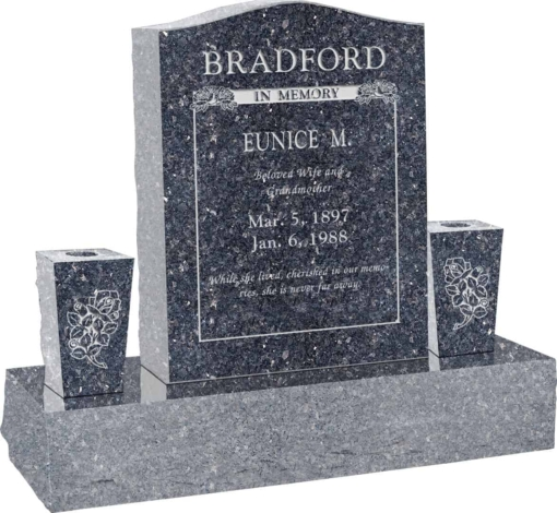 18 inch x 6 inch x 24 inch Serp Top Upright Headstone polished top front and back with 34 inch Base and two square tapered Vases in Blue Pearl with design B-14