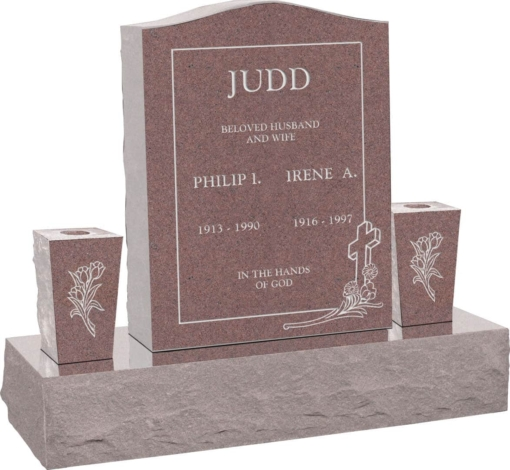 18 inch x 6 inch x 24 inch Serp Top Upright Headstone polished top front and back with 34 inch Base and two square tapered Vases in Desert Pink with design C-46
