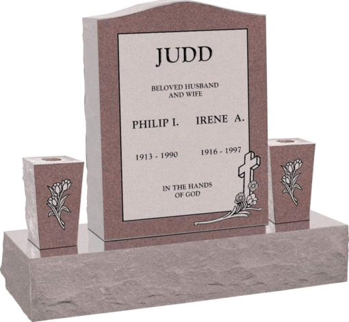18inch x 6inch x 24inch Serp Top Upright Headstone polished top, front and back with 34inch Base and two square tapered Vases in Desert Pink with design C-46 Sanded Panel