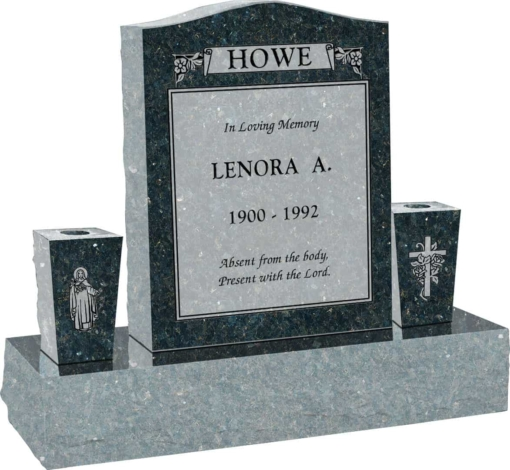 18 inch x 6 inch x 24 inch Serp Top Upright Headstone polished top front and back with 34 inch Base and two square tapered Vases in Emerald Pearl with design C-109