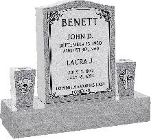 18 inch x 6 inch x 24 inch Serp Top Upright Headstone polished top front and back with 34 inch Base and two square tapered Vases in Grey with design AS-001