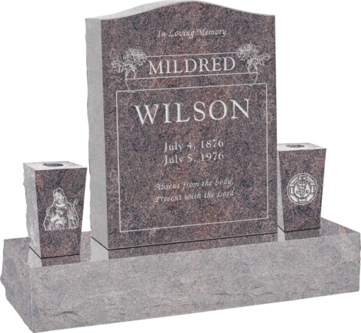 18 inch x 6 inch x 24 inch Serp Top Upright Headstone polished top front and back with 34 inch Base and two square tapered Vases in Himalayan with design B-18