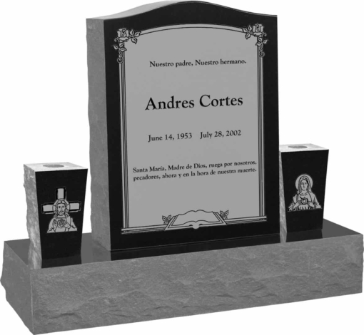 18 inch x 6 inch x 24 inch Serp Top Upright Headstone polished top front and back with 34 inch Base and two square tapered Vases in Imperial Black with design AS-002