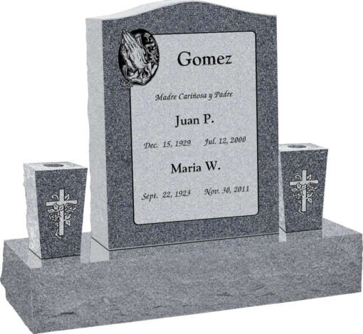 18 inch x 6 inch x 24 inch Serp Top Upright Headstone polished top front and back with 34 inch Base and two square tapered Vases in Imperial Grey with design AS-013
