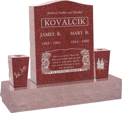 18 inch x 6 inch x 24 inch Serp Top Upright Headstone polished top front and back with 34 inch Base and two square tapered Vases in Imperial Red with design B-08
