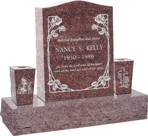 18 inch x 6 inch x 24 inch Serp Top Upright Headstone polished top front and back with 34 inch Base and two square tapered Vases in Mahogany with design B-01