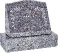 20 inch x 10 inch x 16 inch Serp Top Slant Headstone polished front and back with 26 inch Base in Bahama Blue with design HL-102
