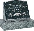 20 inch x 10 inch x 16 inch Serp Top Slant Headstone polished front and back with 26 inch Base in Emerald Pearl with design F-119