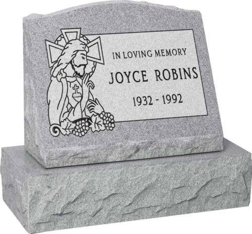 20 inch x 10 inch x 16 inch Serp Top Slant Headstone polished front and back with 26 inch Base in Grey with design SD-323 Sanded Panel