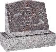 20 inch x 10 inch x 16 inch Serp Top Slant Headstone polished front and back with 26 inch Base in Himalayan with design C-46