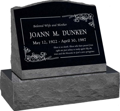 20 inch x 10 inch x 16 inch Serp Top Slant Headstone polished front and back with 26 inch Base in Imperial Black with design B-9