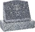 20 inch x 10 inch x 16 inch Serp Top Slant Headstone polished front and back with 26 inch Base in Imperial Grey with design AS-021