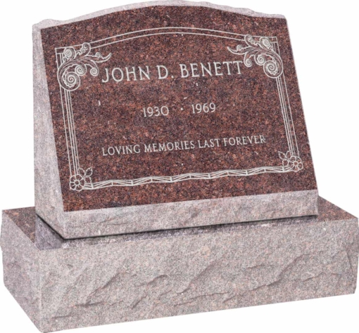 20 inch x 10 inch x 16 inch Serp Top Slant Headstone polished front and back with 26 inch Base in Mahogany with design AS-001