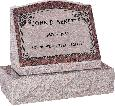 20 inch x 10 inch x 16 inch Serp Top Slant Headstone polished front and back with 26 inch Base in Mahogany with design AS-001 Sanded Panel