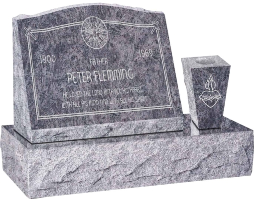 20 inch x 10 inch x 16 inch Serp Top Slant Headstone polished front and back with 30 inch Base and square tapered Vase in Bahama Blue with design AS-020
