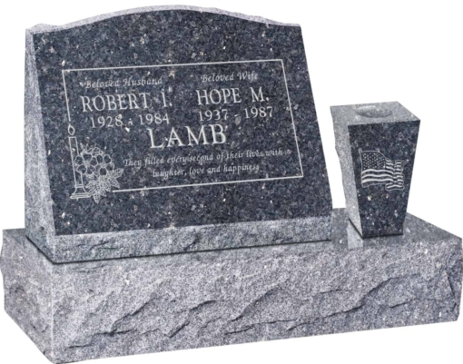 20 inch x 10 inch x 16 inch Serp Top Slant Headstone polished front and back with 30 inch Base and square tapered Vase in Blue Pearl with design B-15