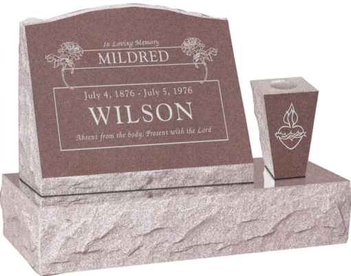 20 inch x 10 inch x 16 inch Serp Top Slant Headstone polished front and back with 30 inch Base and square tapered Vase in Desert Pink with design B-16