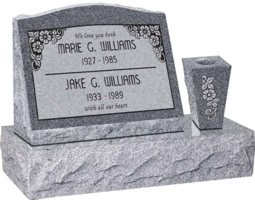 20 inch x 10 inch x 16 inch Serp Top Slant Headstone polished front and back with 30 inch Base and square tapered Vase in Imperial Grey with design SD-110 Sanded Panel