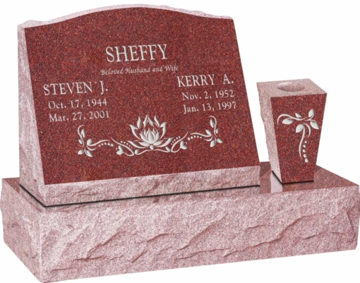 20 inch x 10 inch x 16 inch Serp Top Slant Headstone polished front and back with 30 inch Base and square tapered Vase in Imperial Red with design SD-120