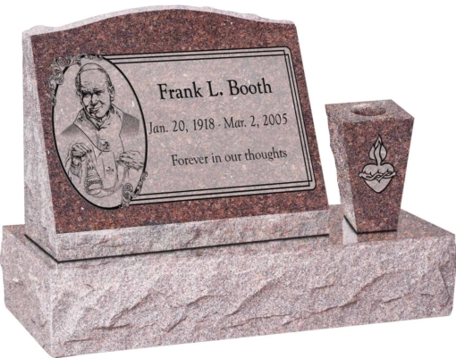 20 inch x 10 inch x 16 inch Serp Top Slant Headstone polished front and back with 30 inch Base and square tapered Vase in Mahogany with design AS-019 Sanded Panel