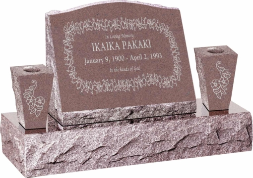 20inch x 10inch x 16inch Serp Top Slant Headstone polished front and back with 34inch Base and two square tapered Vases in Desert Pink with design H-110