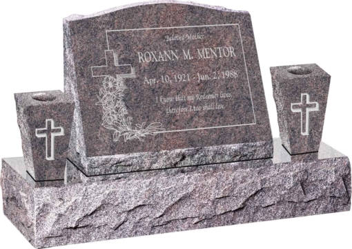 20inch x 10inch x 16inch Serp Top Slant Headstone polished front and back with 34inch Base and two square tapered Vases in Himalayan with design R-8