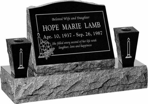 20inch x 10inch x 16inch Serp Top Slant Headstone polished front and back with 34inch Base and two square tapered Vases in Imperial Black with design B-15