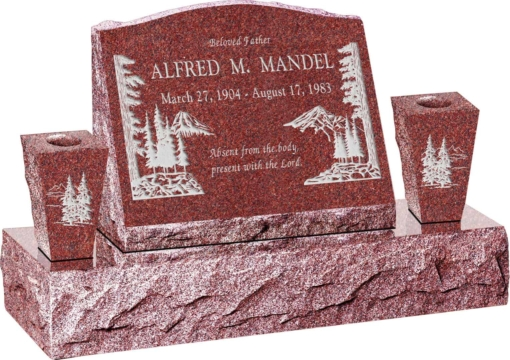 20inch x 10inch x 16inch Serp Top Slant Headstone polished front and back with 34inch Base and two square tapered Vases in Imperial Red with design S-4
