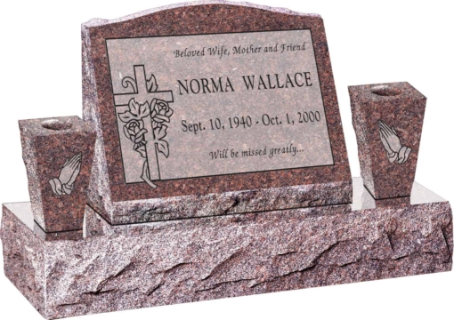 20inch x 10inch x 16inch Serp Top Slant Headstone polished front and back with 34inch Base and two square tapered Vases in Mahogany with design S-329, Sanded Panel