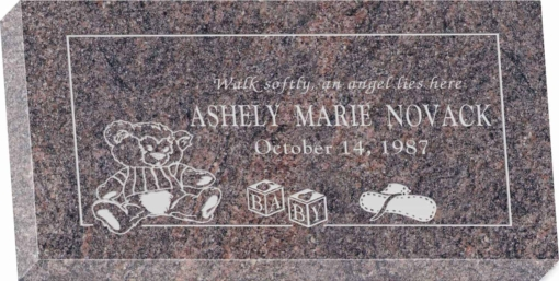 20 inch x 10 inch x 3 inch Flat Granite Headstone in Himalayan with design R-39
