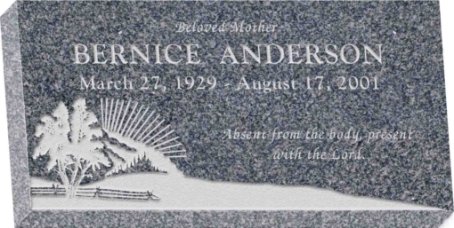 20 inch x 10 inch x 3 inch Flat Granite Headstone in Imperial Grey with design S-3