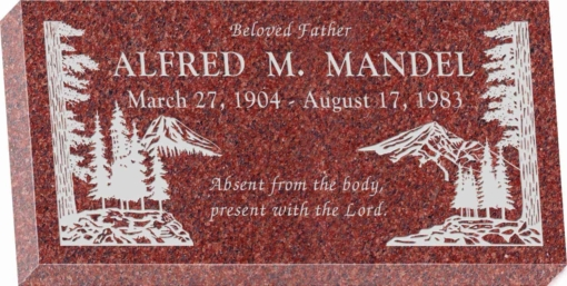 20 inch x 10 inch x 3 inch Flat Granite Headstone in Imperial Red with design S-4