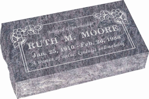 20 inch x 10 inch x 6 inch Pillow Top Headstone in Bahama Blue with design B-21