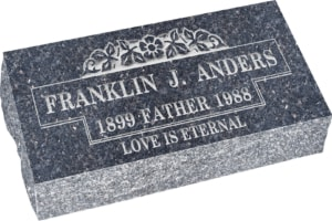 20 inch x 10 inch x 6 inch Pillow Top Headstone in Blue Pearl with design B-17
