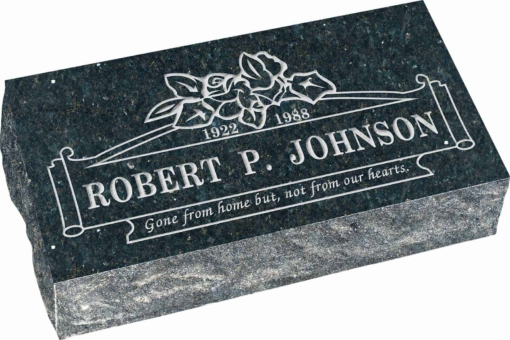 20 inch x 10 inch x 6 inch Pillow Top Headstone in Emerald Grey with design B-20