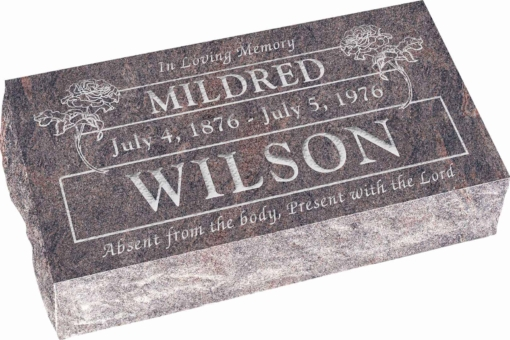 20 inch x 10 inch x 6 inch Pillow Top Headstone in Himalayan with design B-18