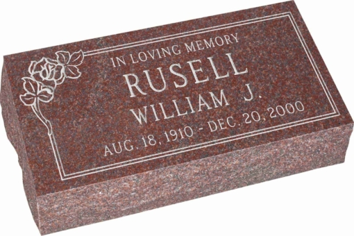 20 inch x 10 inch x 6 inch Pillow Top Headstone in Imperial Red with design SD-101