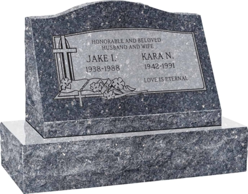 24inch x 10inch x 16inch Serp Top Slant Headstone polished front and back with 30inch Base in Blue Pearl with design C-03, Sanded Panel