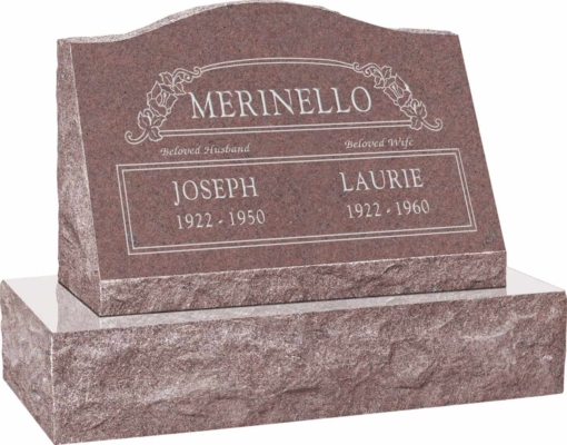 24inch x 10inch x 16inch Serp Top Slant Headstone polished front and back with 30inch Base in Desert Pink with design SD-100