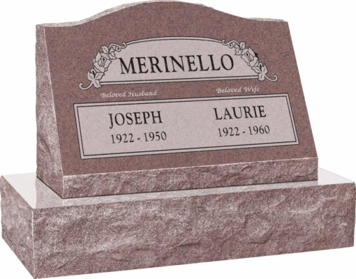24inch x 10inch x 16inch Serp Top Slant Headstone polished front and back with 30inch Base in Desert Pink with design SD-100, Sanded Panel