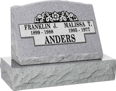 24inch x 10inch x 16inch Serp Top Slant Headstone polished front and back with 30inch Base in Grey with design B-17, Sanded Panel