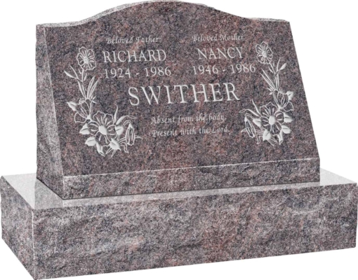 24inch x 10inch x 16inch Serp Top Slant Headstone polished front and back with 30inch Base in Himalayan with design T-7